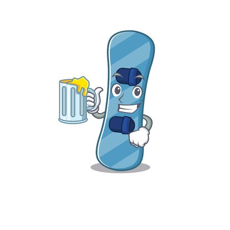 Happy snowboard mascot design with a big glass. Vector illustration Vettoriali