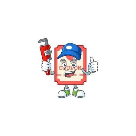 Cool Plumber red love coupon on mascot picture style. Vector illustration