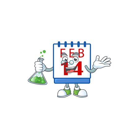 Smart Professor 14th valentine calendar cartoon character with glass tube