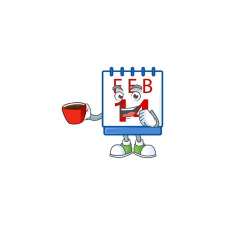 cartoon character of 14th valentine calendar with a cup of coffee Vectores