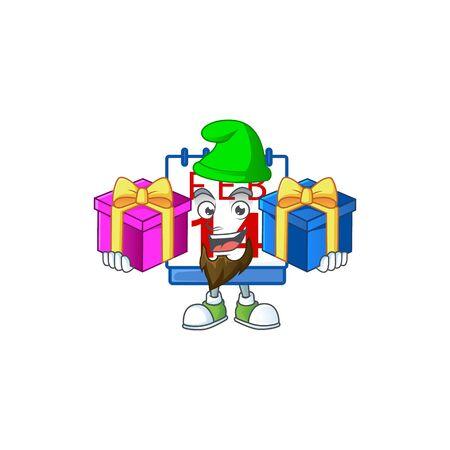 Cute 14th valentine calendar cartoon mascot style with Tongue out Ilustración de vector