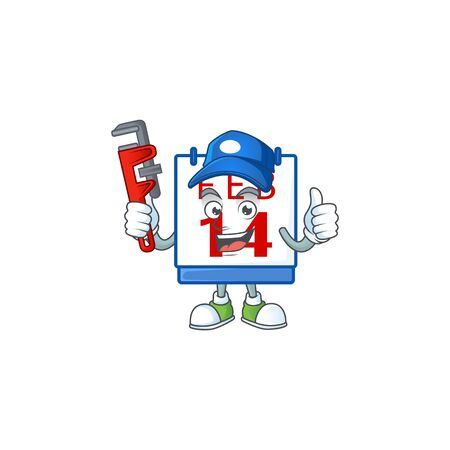 Cool Plumber 14th valentine calendar on mascot picture style