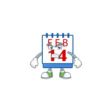 cartoon character of 14th valentine calendar with angry face