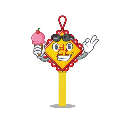 Chinese knot mascot cartoon design with ice cream. Vector illustration
