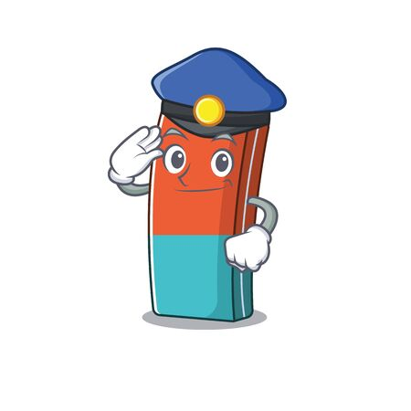 Eraser Cartoon mascot performed as a Police officer. Vector illustration