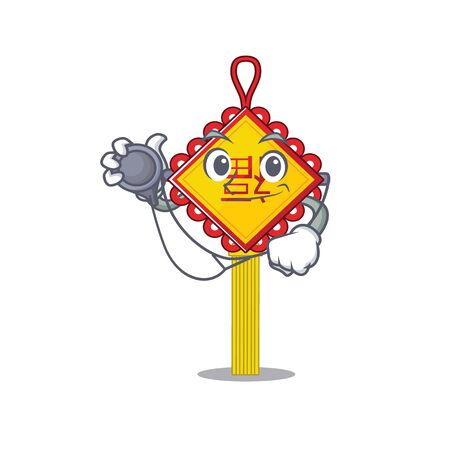 Smart and cool chinese knot cartoon character in a Doctor with tools. Vector illustration
