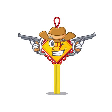 Chinese knot dressed as a Cowboy having guns. Vector illustration Vetores