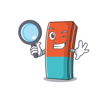 Cool and Smart eraser Detective cartoon mascot style. Vector illustration Illustration