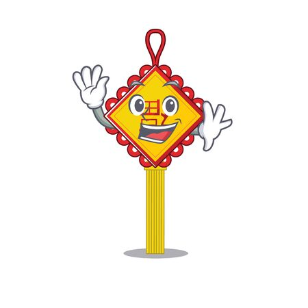 Waving friendly chinese knot cartoon character design. Vector illustration Illustration