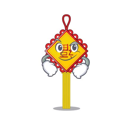 Cool chinese knot mascot character with Smirking face. Vector illustration
