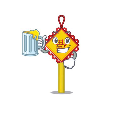 Happy chinese knot mascot design with a big glass. Vector illustration