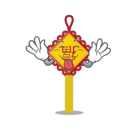 Cute chinese knot cartoon mascot style with Tongue out. Vector illustration Illustration