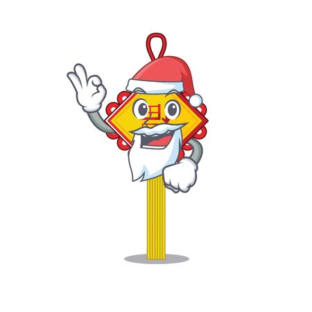 A picture of Santa chinese knot mascot picture style with ok finger. Vector illustration