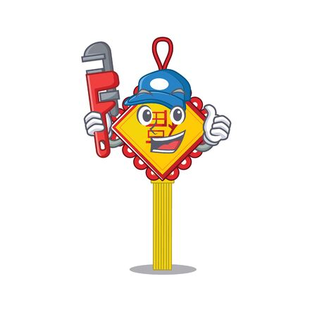 Cool Plumber chinese knot on mascot picture style. Vector illustration