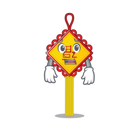 A picture of chinese knot showing afraid look face. Vector illustration Illustration