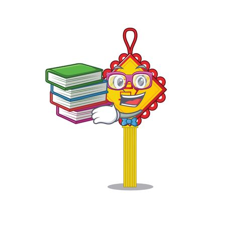 Cool and clever Student chinese knot mascot cartoon with book. Vector illustration Ilustração