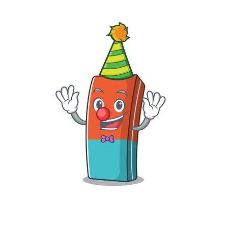 Funny Clown eraser cartoon character mascot design. Vector illustration