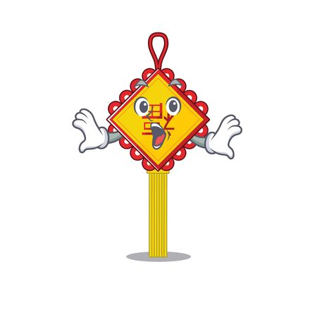 Chinese knot cartoon character design on a surprised gesture. Vector illustration