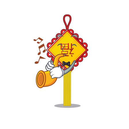 cartoon character style of chinese knot performance with trumpet. Vector illustration Ilustração