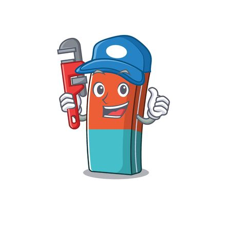 Cool Plumber eraser on mascot picture style. Vector illustration 向量圖像