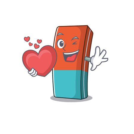 Funny Face eraser cartoon character holding a heart. Vector illustration