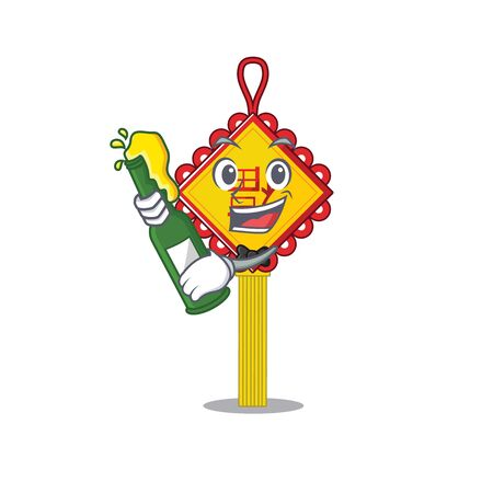 mascot cartoon design of chinese knot with bottle of beer. Vector illustration