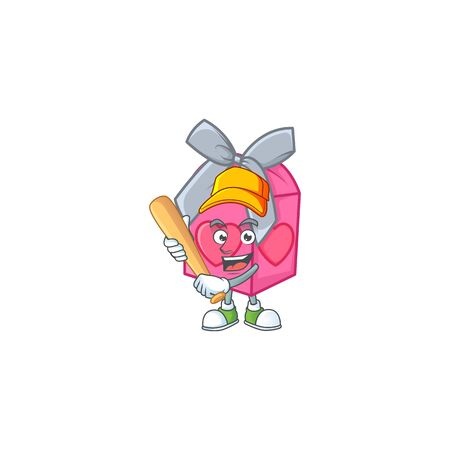 Sporty smiling love gift pink cartoon mascot with baseball