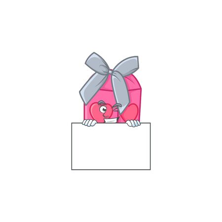 Grinning face love gift pink cartoon character style hides behind a board. Vector illustration Ilustração