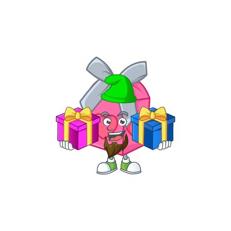 Cute love gift pink cartoon mascot style with Tongue out Vectores