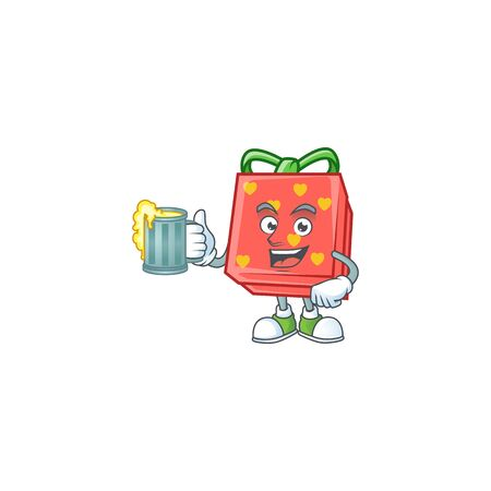 Happy love gift red mascot design with a big glass. Vector illustration Иллюстрация