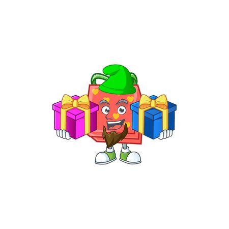Estilo de mascota de dibujos animados rojo lindo regalo de amor con lengua fuera. Ilustración vectorial