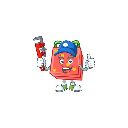 Cool Plumber love gift red on mascot picture style. Vector illustration