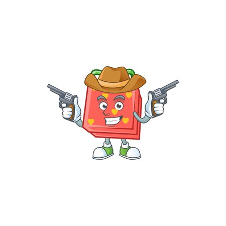 Confident love gift red Cowboy cartoon character holding guns. Vector illustration