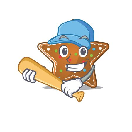 Sporty gingerbread star cartoon character design with baseball. Vector illustration