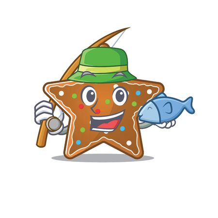 A Picture of happy Fishing gingerbread star design. Vector illustration Vectores