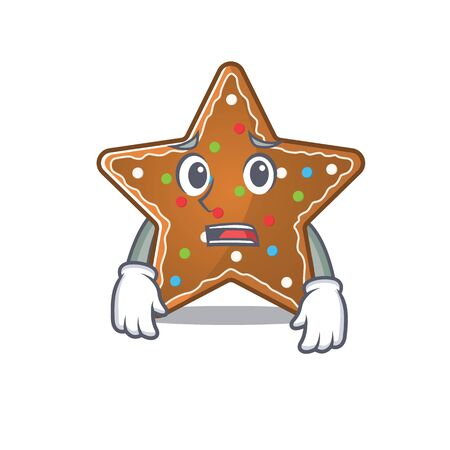 A picture of gingerbread star showing afraid look face. Vector illustration