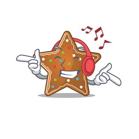 Listening music gingerbread star mascot cartoon character design. Vector illustration