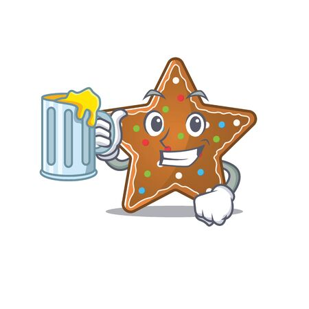 Happy gingerbread star mascot design with a big glass. Vector illustration