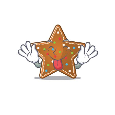 Cute gingerbread star cartoon mascot style with Tongue out. Vector illustration Vectores