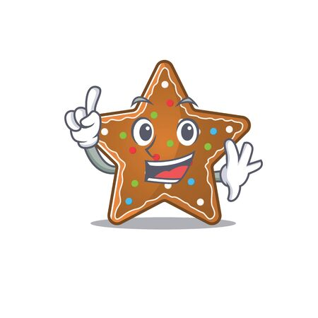One Finger gingerbread star in mascot cartoon character style. Vector illustration