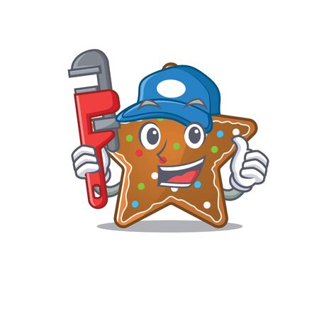 Cool Plumber gingerbread star on mascot picture style. Vector illustration