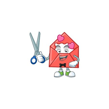 Cool friendly barber love letter cartoon character style