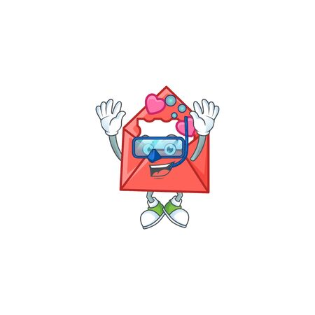 cartoon character of love letter wearing Diving glasses. Vector illustration