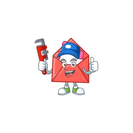 Cool Plumber love letter on mascot picture style. Vector illustration