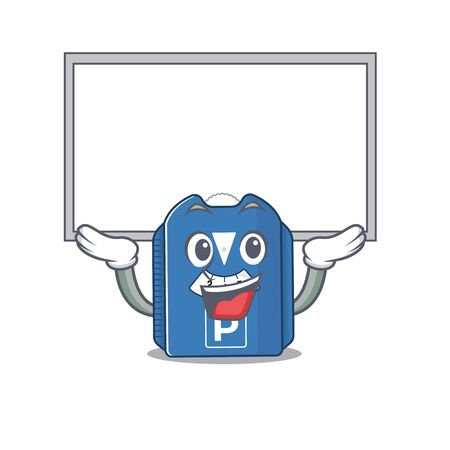 A mascot picture of parking disc raised up board. Vector illustration