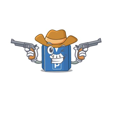 Parking disc dressed as a Cowboy having guns. Vector illustration Illustration