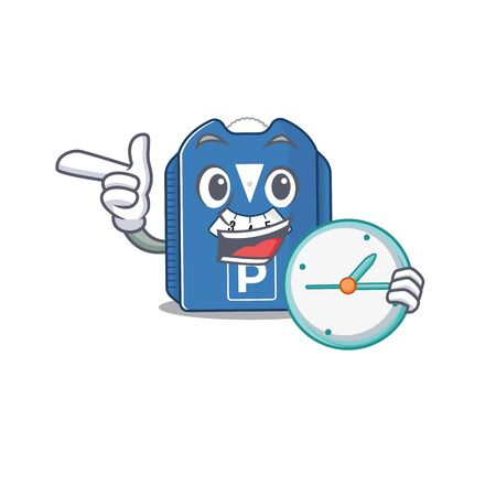 cartoon character style parking disc having clock. Vector illustration