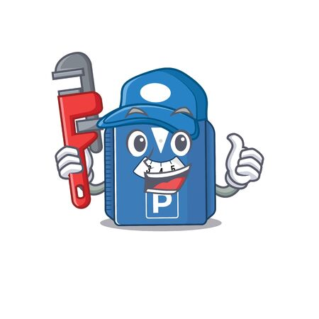 Cool Plumber parking disc on mascot picture style. Vector illustration