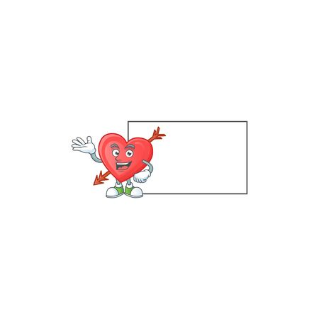 Smiley arrow love with whiteboard cartoon character design. Vector illustration
