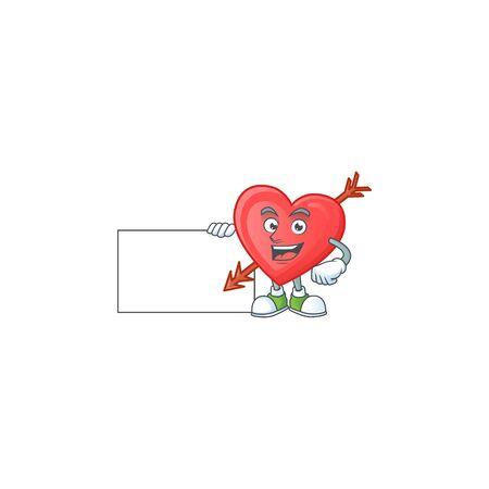 Cheerful arrow love cartoon character having a board. Vector illustration
